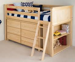 Low Loft Bed With Desk And Dresser by Jackpot Natural Finish Low Loft Bed With Dresser And Bookcase