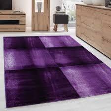 modern designer wohnzimmer teppich kariert muster schwarz lila meliert