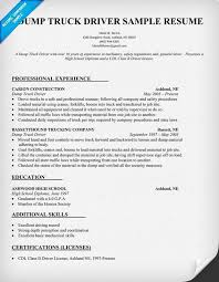 Cdl Driver Resume From Dump Truck Sample Panion