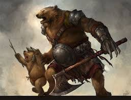 Digital Fantasy Painting By Sandara Of A Mother Bear Warrior And Her Cub In Bipedal Stance