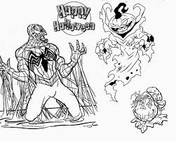 Evil Black Spiderman Vs Scary Pumpkin Halloween Coloring Pages