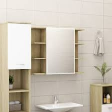 bad spiegelschrank weiß sonoma eiche 80x20 5x64 cm spanplatte
