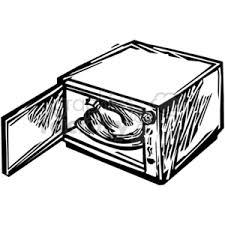 Royalty Free black white microwave vector clip art image EPS SVG PDF illustration