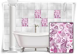 fliesen aufkleber fliesen bild kachel geschnörkel rosa flieder pfau bad wc küche deko