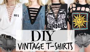 DIY Vintage T Shirts Lace Up Tee