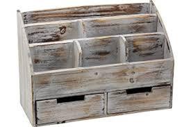Vintage Rustic Wooden Office Desk Organizer Mail Rack For Desktop Tabletop Or Counter