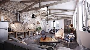 Living Room Rustic Chic High Rafters Victorian Chairs Furniture Sets Gray Sofa