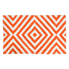 Arcade Orange & White Bath Rug bathrooms Pinterest