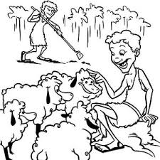 Abel Taking Care Of His Sheeps In And Cain Coloring Page