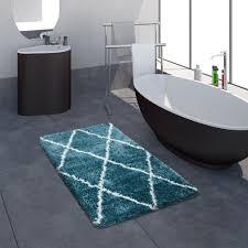 badematte badezimmer shaggy hochflor einfarbig mit weißem rauten muster türkis grösse 50x80 cm