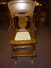 Ebay Rocking Chair Nursery by Antique Vintage Oak High Chair Rocker Press Back Cane Seat