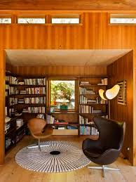 wooden bookshelves design by pete bossley architects