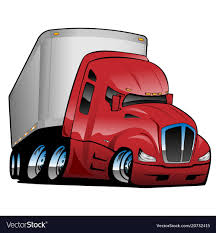 Semi Truck With Trailer Cartoon Royalty Free Vector Image