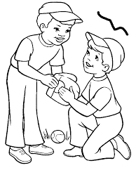 Two Boys Playing Baseball Coloring Page By Years Old