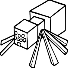 Printable Spider Minecraft Colouring Template Download