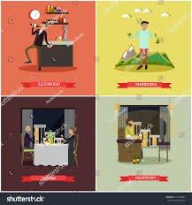 Set Of Bad Habits Posters Alcoholic Marijuana Cigars And Gluttony Concept Flat Style