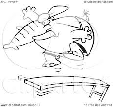 Royalty Free RF Clip Art Illustration Of A Cartoon Black And White Outline Design An Elephant Jumping On Diving Board By Toonaday