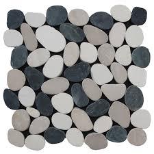 sliced pebble tile black white