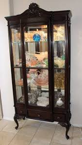Tiger Oak Dresser Beveled Mirror by Antique Rare Queen Anne Display Curio China Cabinet Beveled