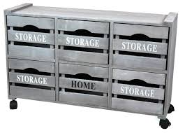 Rustic Gray Cabinet Storage Chest With 6 Crate Style Drawers Free Optional Rolling Casters