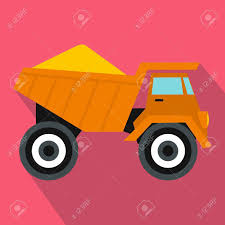 Dump Truck With Sand Icon In Flat Style On A Pink Background Royalty ...