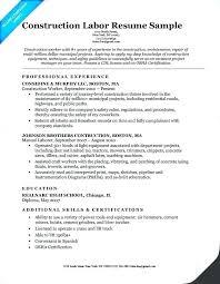 Building Maintenance Job Resume Worker Sample From Construction Laborer