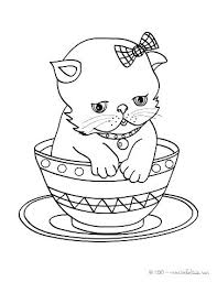 Cat Color Picture Coloring Page Cute Kitten In Cup Animal Pages Pet Black For Kids Unicorn