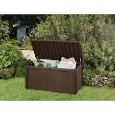 Plastic Garden Storage Bench Seat by Keter Brightwood Resin 120 Gallon Outdoor Storage Deck Box Hayneedle