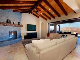 Beige Sectional Living Room Ideas by Ceiling Outstanding Exposed Rafters With Fireplace Mantel And