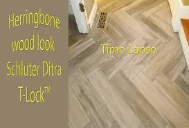 Herringbone Wood Look Plank Porcelain Tile Floor Time Lapse T LockTM