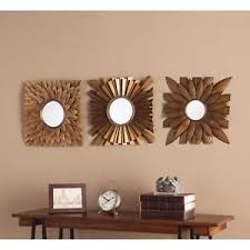Image Is Loading Wall Mirror 3 Pc Gold Mid Century Modern