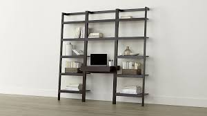 sawyer mocha leaning desk with two 24 5 bookcases crate and barrel