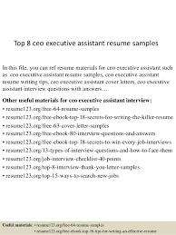 Top 8 Ceo Executive Assistant Resume Samples In This File You Can Ref Materials