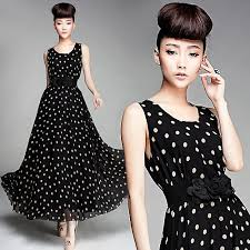 HOT Vintage Fashion New Ladies DressElegant Womens Silk Chiffon Dressmaxi Casual