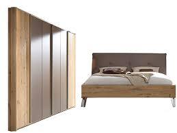 thielemeyer cubo schlafzimmer wildeiche massivholz mit komfort liegenbett mit polsterkopfteil 6 türigem drehtürenschrank