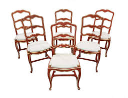 Set Of Six Unique Shabby Chic Early 1940s Vintage French Country Oak ... Guy Chaddock Melrose Custom Handmade Fniture Cf0485s Country French Ding Chairs With Ladder Back And Rush Seats Antique Farm Carved Tall Seat Room Set Of 6 Provincial In Walnut 10 Louis Xv Style Oak Leather Nailhead Recliner Chair Vintage White Of Four Six Xiv Ladderback Scalloped Stretchers Inspire Q Eleanor Wood 2 By Dec 16 2018