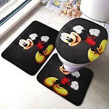 ingshihuainingxianchuangju mickey mouse badematte badezimmer teppich sets 3 stück badezimmer rutschfeste bodenmatte podest teppich deckel wc cover