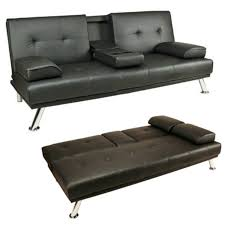 Foam Folding Chair Bed Uk by Sofa Bed Black Faux Leather Click Clack Double Settee 2 To 3