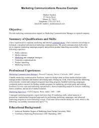Resume Communication Skills Strong Examples Resumes Marketing Manager Sample Highlighting In