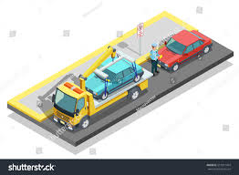 Colored Isometric Parking Composition Tow Truck Stock Vector ...