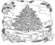 Adults Christmas Tree In Nature Coloring Pages