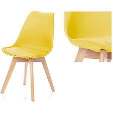 homede esszimmerstuhl mit polster kunststoff plastik holz gelb tempa