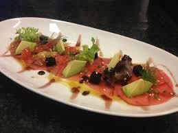 cuisine gala carpaccio de toñina blue fin amb gelatina de soja tomaquet