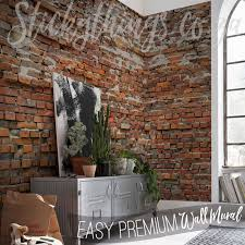 Rustic Brick Wall Mural In A Lounge
