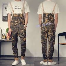 Retro Fashion Men 039 S Slim Camo Overalls