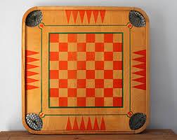 Vintage Wood Checker Board Carrom Game Restaurant Wall Art Decor Folk Two Sided