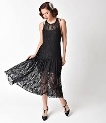Vintage 1920s Flapper Style Black Lace Racerback Midi Dress
