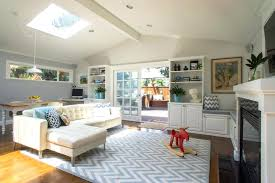 Rug Living Room Transitional With Dining Area Sliding Glass Doors Built In Bench Decorations For Parties