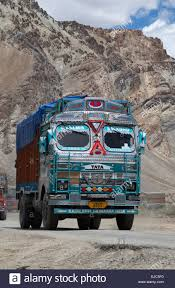 Decorated Indian Trucks Negotiate The Hazardous Manali-Leh Road High ...