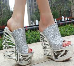 Sparkly Gorgeous Open Toes High Heels Platform Wedding Wedges Sandals Shoes
